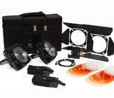 F8-D 100/200 Combo ENG Kit 100/200W Daylight LED Fresnels with Case and Gold Mount Battery Kit