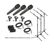 Audio-Technica PRO 61 TRIO Bundle with (3) Mics + (3) Tripod Stands / Booms + (3) Cables