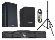 QSC K8.2-SINGLE-K Powered Speaker Bundle with Cover, Stand, Stand Bag, XLR cable, Plug Strip and Extension Cord