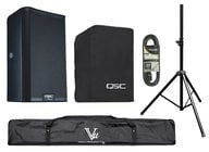 QSC Powered Speaker Bundle with Cover, Stand, Stand Bag, XLR cable, Plug Strip and Extension Cord