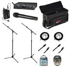 Audio-Technica Wireless Lavalier Combo System Bundle with Case, Rechargeable Batteries with Charger, Mic Stand, XLR Cables and Cat6 Cables
