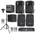 RCF ART-712A-SUB-K Speaker and Sub Bundle with Speakers, Sub, Covers, Stands and Cables