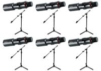 Gator Cases Tripod Microphone Stand Bundle with 6 GFW-ID-MIC Mic Stands and 6 GFW-MIC-QRTOP Quick Release Attachments