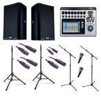 QSC K8.2-DUAL-4-K Active Speaker Bundle with Speakers, Microphones, Mixer, Stands and Cables