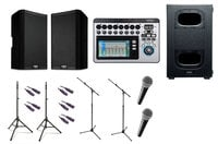 QSC Active Speaker Bundle with Speakers, Microphones, Mixer, Subwoofer, Stands and Cables.