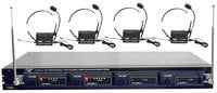 Pyle Pro PDWM4400-RST-09 4 Mic VHF Rack Mount Wireless Lavalier/Headset System