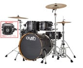 """Crush Chameleon Ash 5-Piece Shell Pack With Free 8"""" Tom - Trans Satin Black"""