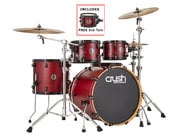 """Crush Chameleon Ash 5-Piece Shell Pack with Free 8"""" Tom - Trans Satin Red"""