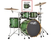 """Crush Chameleon Ash 5-Piece Shell Pack With Free 8"""" Tom - Trans Satin Green"""