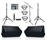 """QSC K10.2-DUAL-4W-K Active QSC 10"""" Speaker Bundle with Mixer, Microphone, Stands, and Cables"""