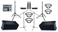 "QSC K12.2-DUAL-4W-K QSC Active 12"" Speaker Bundle with Mixer, Wireless Microphones, Stands, and Cables"