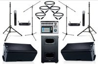 "QSC K12.2-DUAL-5W-K  QSC Active 12"" Speaker Bundle with Subwoofer, Mixer, Wireless Microphones, Stands, and Cables"
