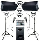 "QSC K12.2-DUAL-5-K  QSC Active 12"" Speaker Bundle with Subwoofer, Mixer, Microphones, Stands, and Cables"