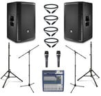 "JBL PRX812W-DUAL-4-K  JBL Active 12"" Speaker Bundle with Mixer, Microphone, Stands, and Cables"