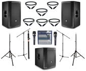 "JBL PRX812W-DUAL-SUB-4-K  JBL Active 12"" Speaker Bundle with Mixer, Microphone, Stands, and Cables"