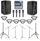 "JBL PRX812W-DUAL-5-K JBL Active 12"" Speaker Bundle with Mixer, Microphones, Stands, and Cables"