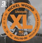 D`Addario EXL110-3D 3 Pack of Regular Light Electric Guitar Strings