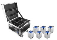 Chauvet Pro WELL Fit 6-Pack (6) 4x10W RGBA LED Battery Powered Uplights and Charging Case