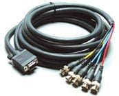 VGA Male to 5 Female Breakout BNC Cable, 3ft.