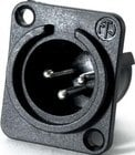 PP 3-Pin XLR Male Plastic Panel Receptacle (with Silver Contacts, Black)
