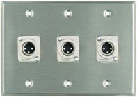Plateworks Triple-Gang Stainless Steel Wall Plate with 3x XLR-M Connectors