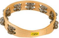 "Latin Percussion CP390 10"" CP Wood Tambourine with Double Row of Jingles"