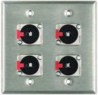 "Plateworks Dual-Gang Stainless Steel Wall Plate with 4x Locking 1/4"" TRS Jacks"