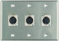 Plateworks Triple-Gang Stainless Steel Wall Plate with 3x Latching XLR-F Connectors