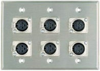 Plateworks Triple-Gang Stainless Steel Wall Plate with 6x 3-Conductor Latching XLR-F Connectors