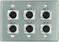 "Plateworks Triple-Gang Stainless Steel Engraved Wall Plate with 6x Latching XLR-Fs: ""Mic [1-6]"""