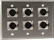TecNec WPL3104 3 Gang Wall Plate with 6 XLR-F Connectors WPL3104
