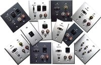 Dual Gang Stainless Steel Wall Plate (1 HD15 Female Feed Thru, 1 3.5mm, 1 RCA Video Feed Thru, 2 RCA Audio Feed Thrus)