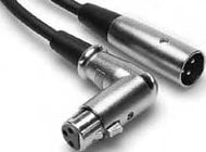 Hosa XFF101.5  1.5 ft. Right-Angled 3-Pin XLR-F - Straight 3-Pin XLR-M