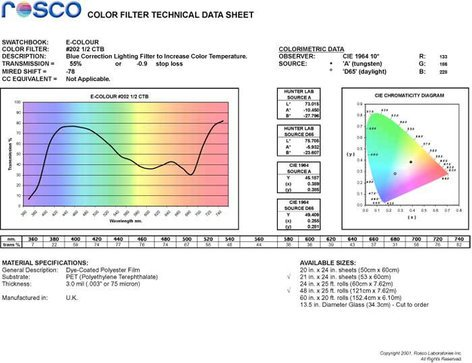 "Rosco Laboratories E-Colour #202 21""x24"" Sheet of Half CT Blue Tungsten Conversion Filter E-COLOUR-202-SHEET"
