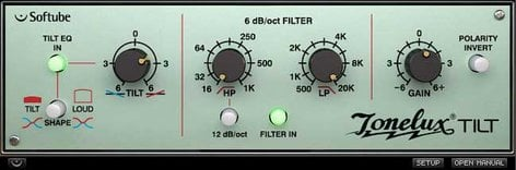 Softube Tonelux Tilt EQ Plugin with Switchable 6 or 12dB/Octave Filter SFT-TEQ-NAT