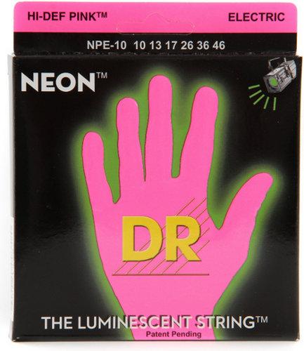 DR Strings NPE-10 Medium NEON HiDef SuperStrings Electric Guitar Strings in Pink NPE-10