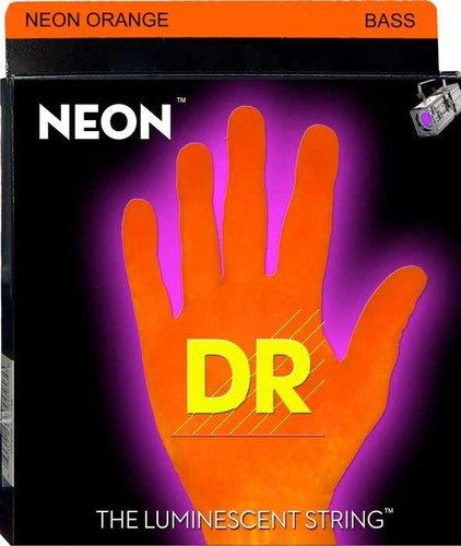 DR Strings NOB-45 Medium NEON HiDef SuperStrings Electric Bass Strings in Orange NOB-45