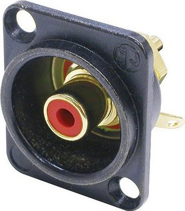 Neutrik NF2D-B-2  RCA D-Series Panel-Mount Jack with Red Isolation Washer, Black Housing NF2D-B-2