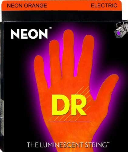 DR Strings NOE-9 Light NEON HiDef SuperStrings Electric Guitar Strings in Orange NOE-9