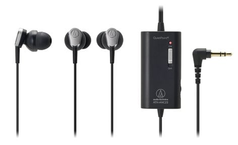 Audio-Technica ATH-ANC23 In-Ear Noise Canceling Headphones in Black ATH-ANC23BK
