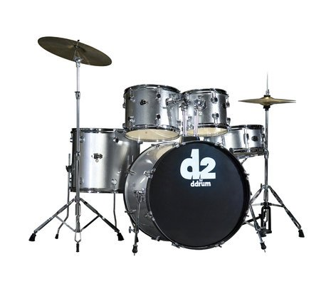 ddrum d2 5 Piece Drum Kit in Brushed Silver with Cymbals & Hardware D2-BRUSHED-SILVER
