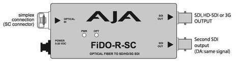 AJA FiDO-R-SC 1 Channel SC Optical Fiber to SD/HD/3G-SDI Mini Converter with Dual SDI Outputs & Power Supply FIDO-R-SC