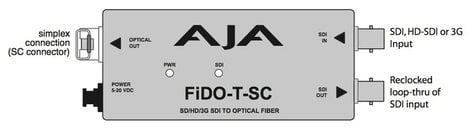 AJA FiDO-T-SC 1 Channel SDI to SC Fiber Mini Converter with Looping SDI Out and Power Supply FIDO-T-SC
