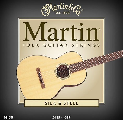 Martin Strings M130-MARTIN Silk & Steel Folk Acoustic Guitar Strings M130-MARTIN