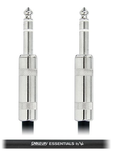 "Cable Up by Vu PM3-PM3-ES-1 1 ft 1/4"" TRS Male to 1/4"" TRS Male Balanced Cable with Silver Contacts PM3-PM3-ES-1"
