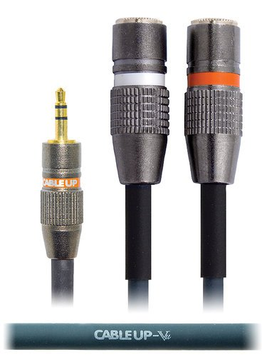 "Cable Up YS-M3-MF2D-0.5 6"" 1/8"" TRS Male to Dual 1/8"" TRS Female Send/Return Y-Cable YS-M3-MF2D-0.5"
