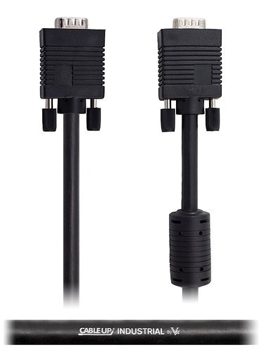 Cable Up by Vu VGADE15-FB-50 50 ft VGA Male to Male Cable with DE15 Connectors with Ferrite Beads VGADE15-FB-50