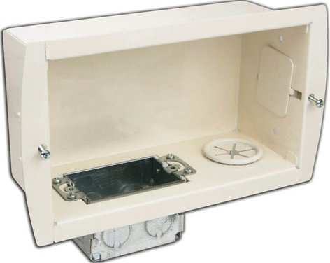 Premier Mounts GB-INWAVP In-Wall Cable & Power Gear Box in White GB-INWAVP
