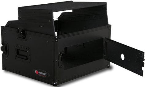 Odyssey FRGS804BL  Black Label Series Flight Ready Glide-Style Combo Rack Case: 8RU Top, 4RU Bottom FRGS804BL