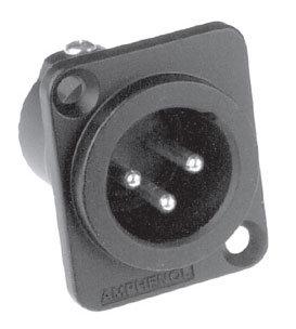 Amphenol AC3MMDZB-AU XLR3 Male, Machined Contacts, D Flange, Gold Plated Contacts AC3MMDZB-AU
